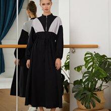 A-Linie Kleid mit Kontrast Einsatz und Kordelzug auf Taille