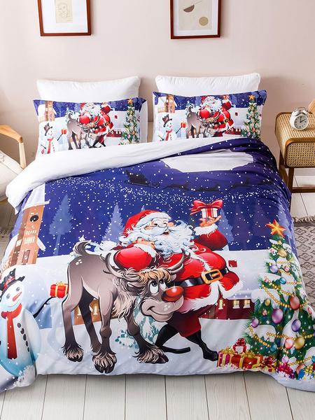 Milanoo Bedding Set 3-Piece Polyester Fiber Christmas White Beddingroom Supplies