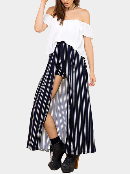 Yoins Fashion Off Shoulder Stripe Co-ord