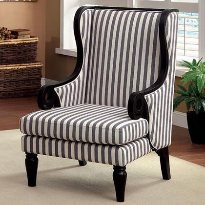 Riviera CM-AC6802 Accent Chair with Black Finish Wood Trim and Wingback Design in White/Dark Blue