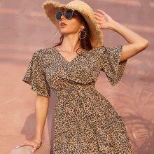 A Linie Kleid mit Leopard Muster und Band vorn