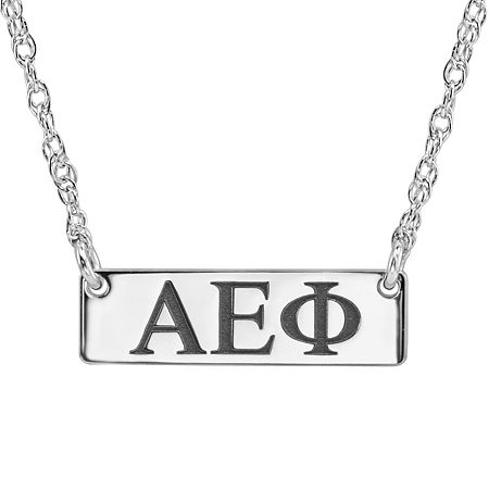 Personalized Greek Letters 20mm Initial Necklace, One Size , White