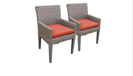 Monterey Collection MONTEREY-TKC297b-DC-C-TANGERINE 2 Dining Chairs With Arms - Beige and Tangerine