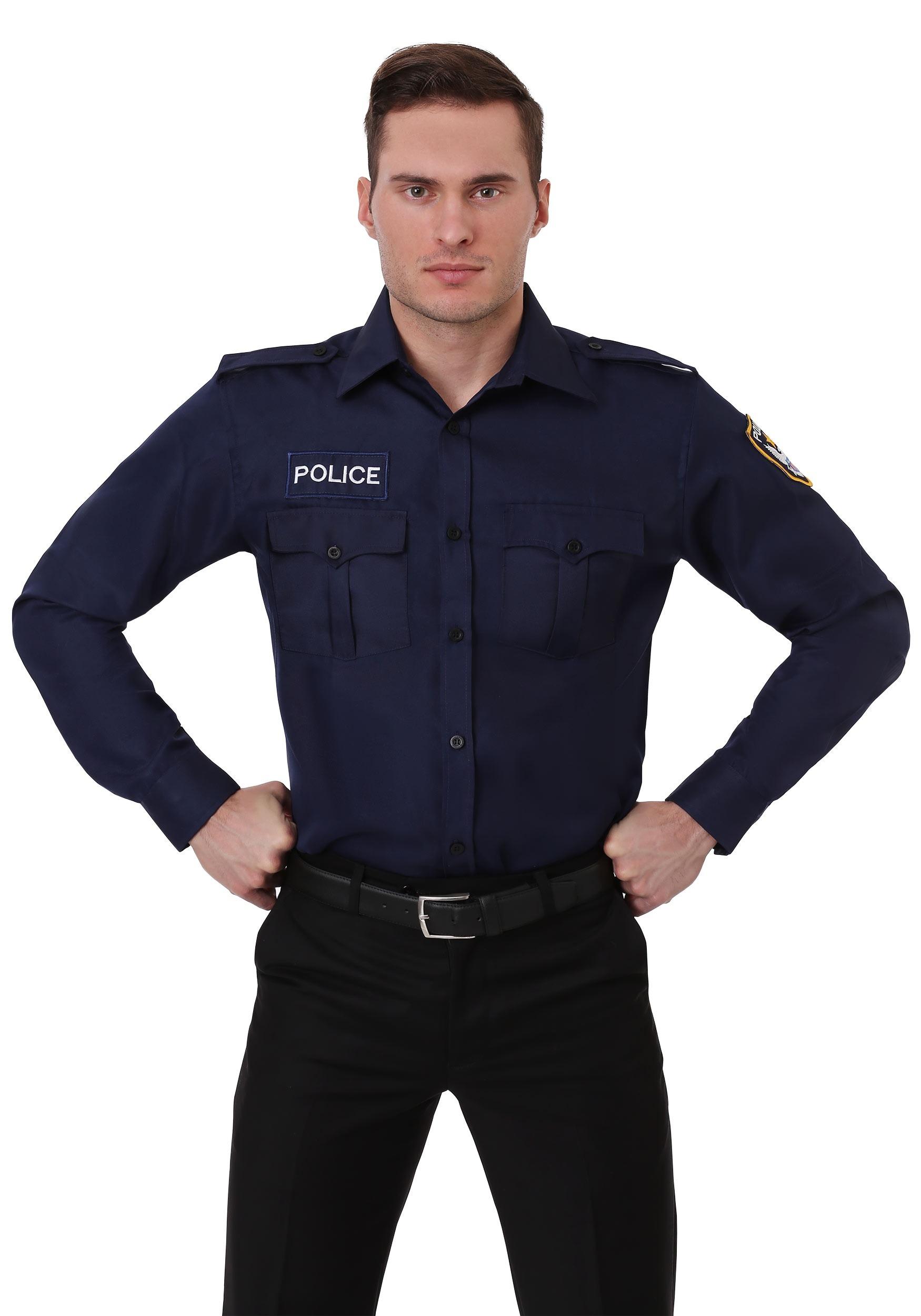 Plus Size Mens Long Sleeve Police Shirt