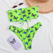 Butterfly Print Bandeau High Leg Bikini Swimsuit