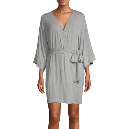 Ambrielle Womens Kimono Robes 3/4 Sleeve Mid Length, Medium , Gray