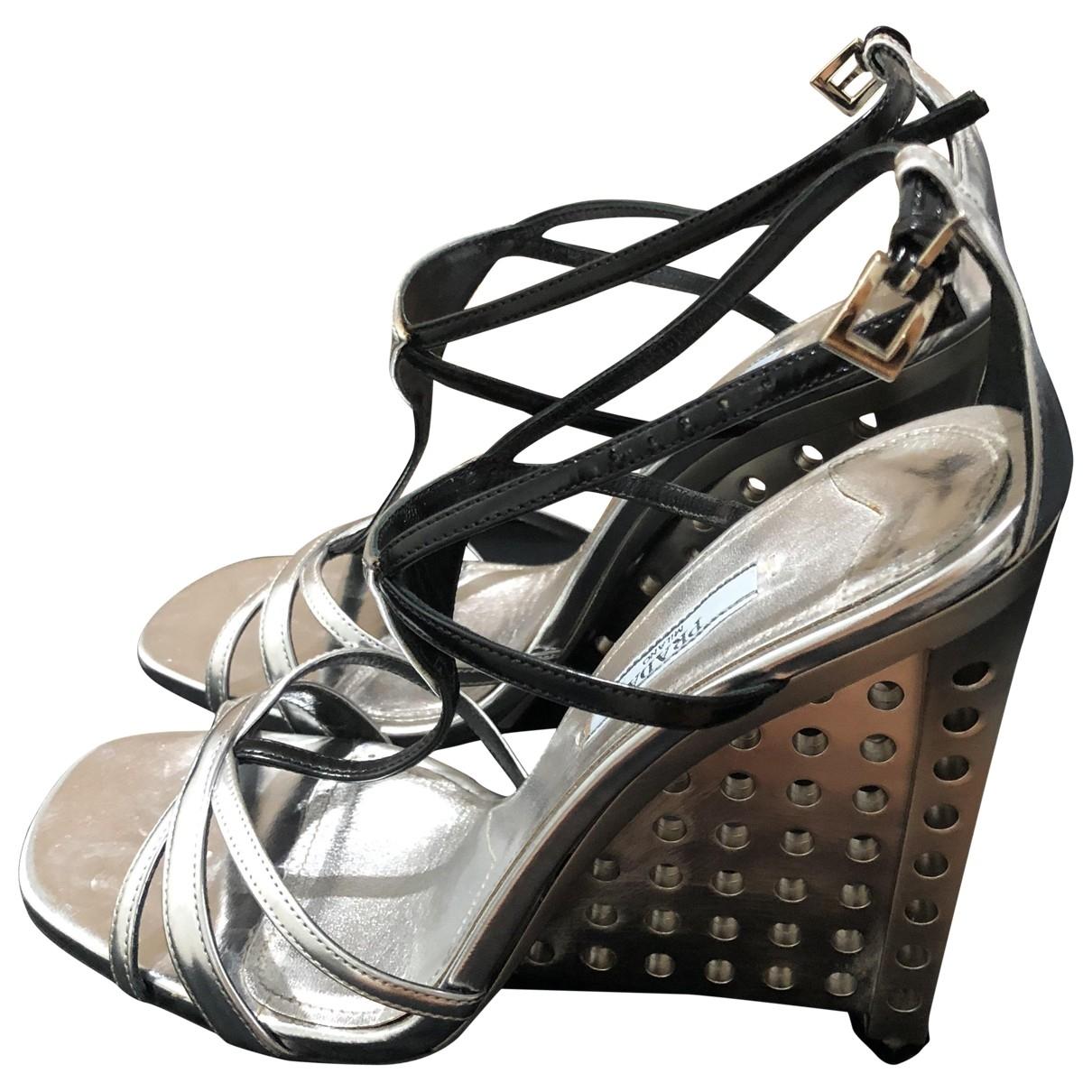 Prada \N Silver Leather Sandals for Women 39.5 EU