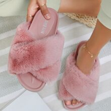 Faux Fur Crisscross Vamp Slide Sandals