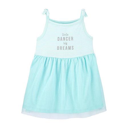 Carter's Baby Girls Short Sleeve A-Line Dress, 9 Months , Green
