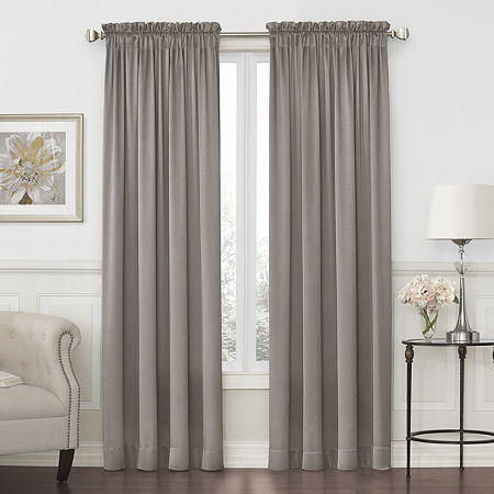 JCPenney Home Hilton Light-Filtering Rod-Pocket Single Curtain Panel, One Size , Gray