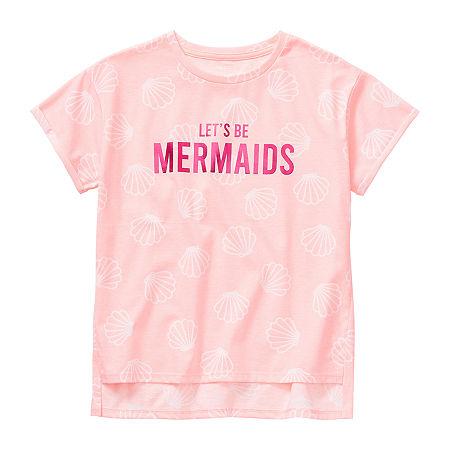 Arizona Little & Big Girls Crew Neck Short Sleeve Graphic T-Shirt, Large (14.5/16.5) Plus , Pink