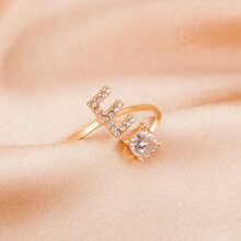 Rhinestone Letter Decor Ring