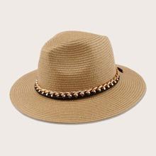 Chain Band Decor Straw Hat