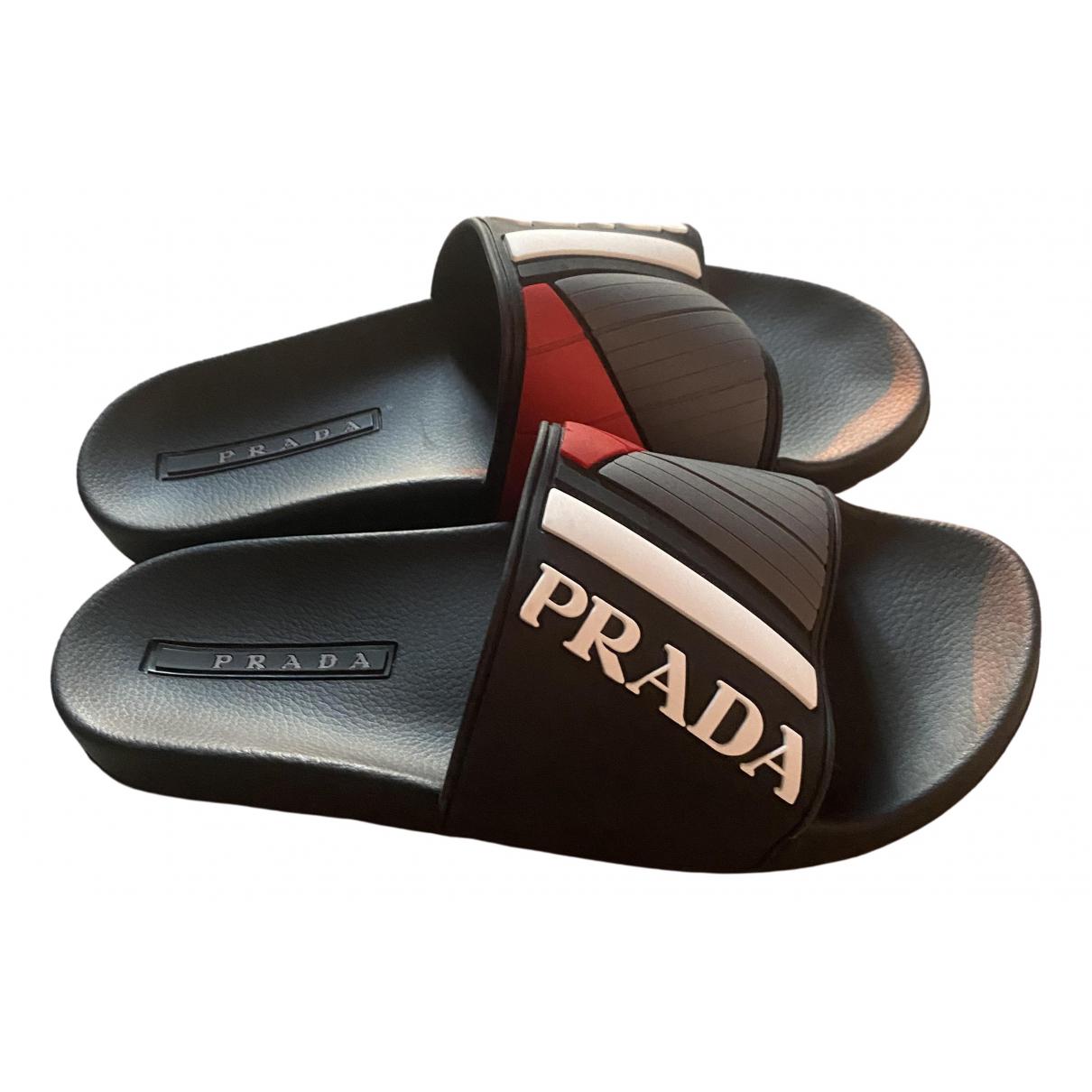 Prada - Sandales   pour homme en caoutchouc - noir