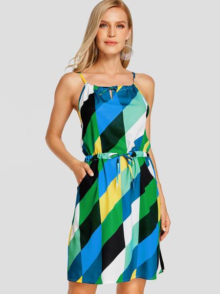 Yoins Multi Random Geometrical Print Holiday Dress with Drawstring Belt