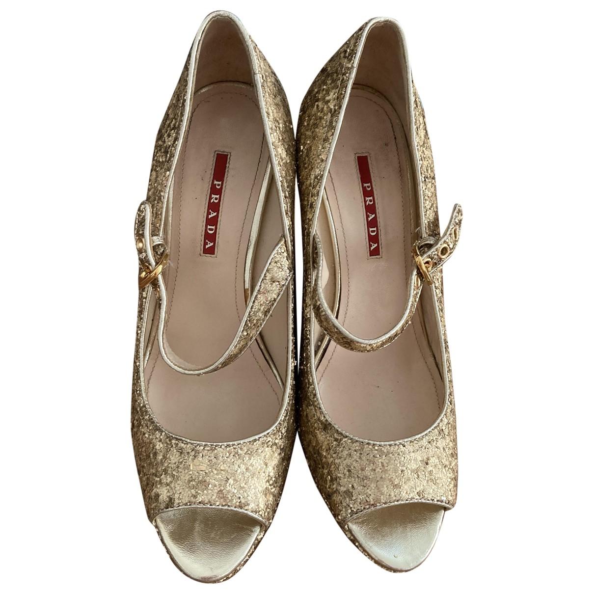 Prada \N Gold Glitter Heels for Women 38.5 EU