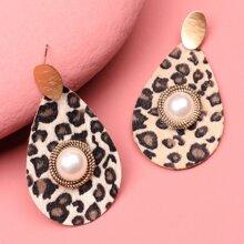 Leopard Pattern Water Drop Earrings