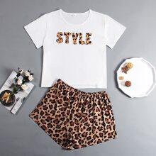 Pijamas de Talla Grande Leopardo Casual
