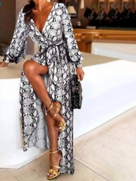 Milanoo Boho Maxi Dresses Long Sleeves Printed V-Neck Slit Long Dress For Women