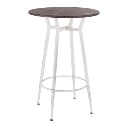Clara Collection BT-CLARARNVWE Bar Table with Round Shaped Metal Top  Footrest Support  Industrial Style and Tapered Legs in Vintage White