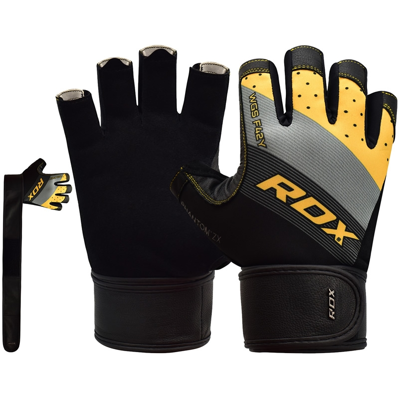 RDX F42 Weight Lifting Gym Workout Gloves Lycra Large Yellow/Silver/Black