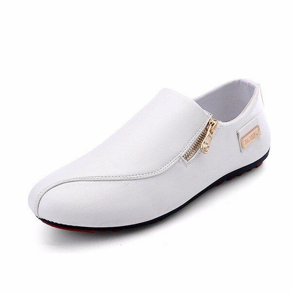 Men Zipper Slip On Pure Color White Flat Stitching Shoes