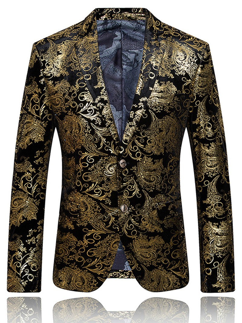 Ericdress Printed Single-Breasted Color Block Small Size Men's Casual Blazer