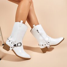 Studded & Buckle Decor Chunky Heeled Boots
