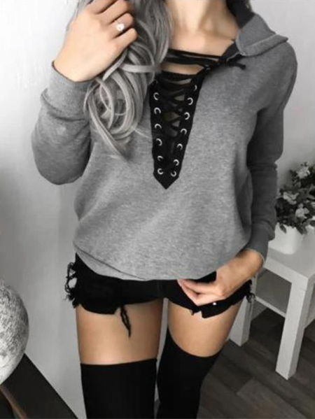 YOINS Lace-up Design Pullover Collar Long Sleeves Tee