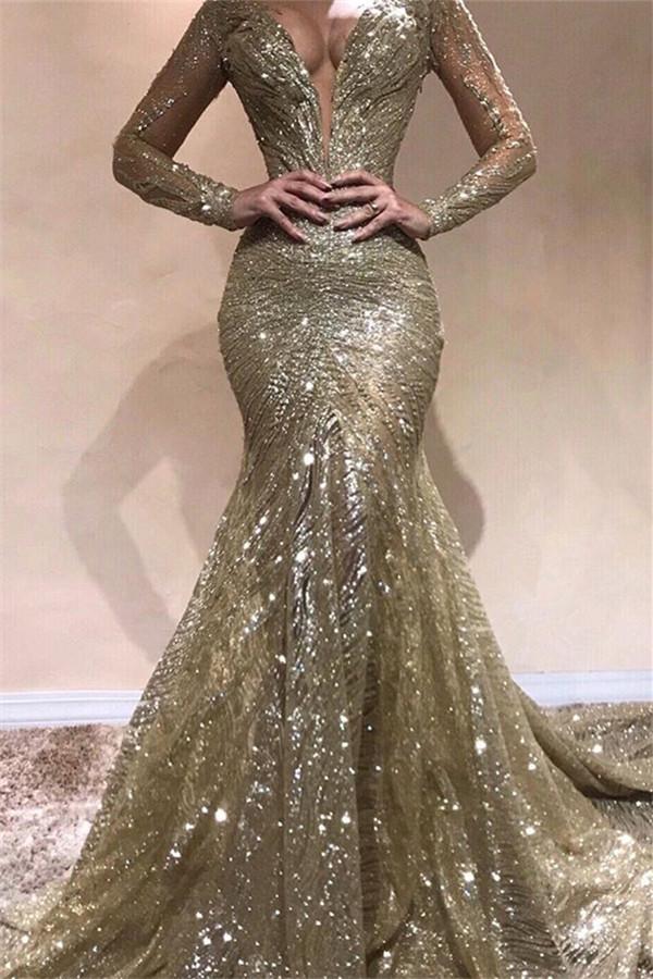 Elegant Mermaid V-Neck Long Sleeves Sequins Prom Dresses