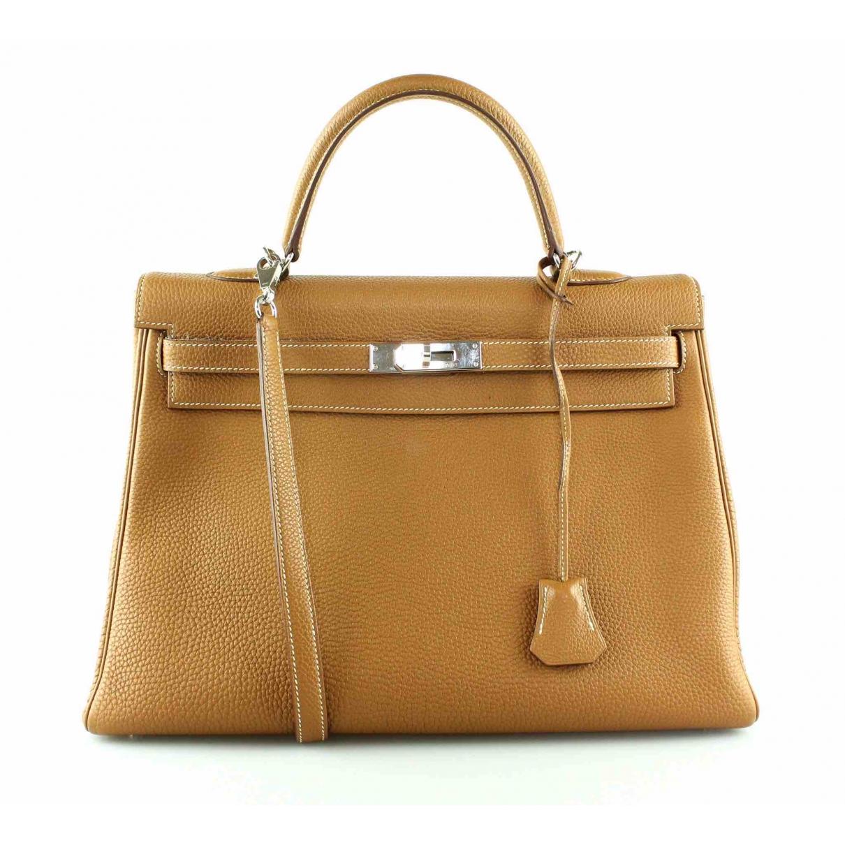 Hermes Kelly 35 Handtasche in  Gold Leder