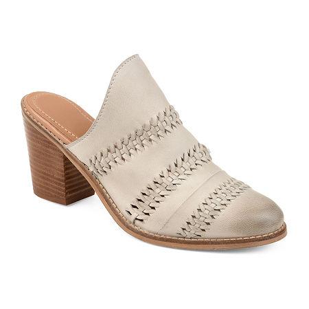 Journee Signature Womens Huntly Booties Stacked Heel Slip-on, 10 Medium, White
