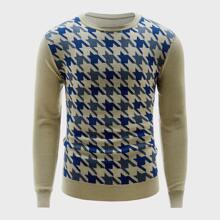 Men Contrast Houndstooth Sweater