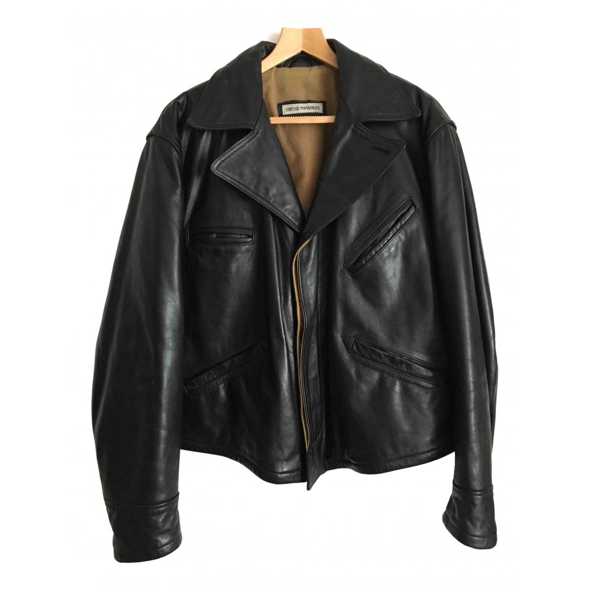Emporio Armani \N Black Leather jacket  for Men 52 IT
