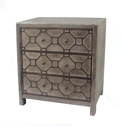 BM204751 Geometric Wooden Storage Cabinet with 3 Drawers  Distressed