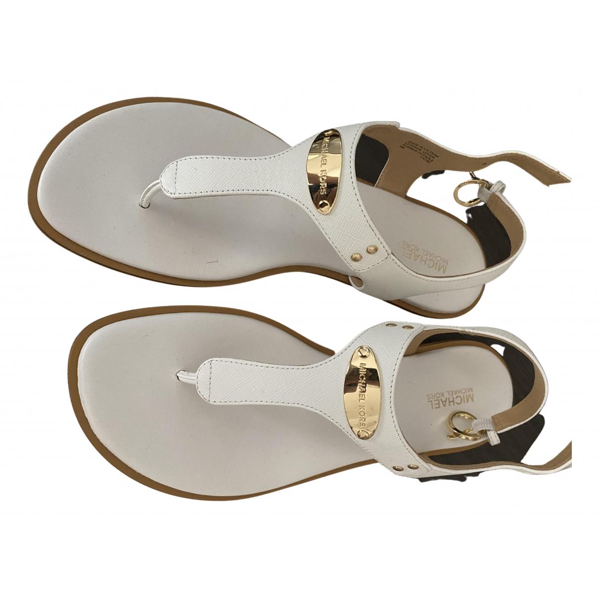 Michael Kors - Sandales   pour femme en cuir - blanc