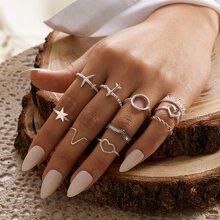 10 Stuecke Herz & Stern Dekor Ring