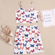 Allover Butterfly Print Cami Top & Skirt