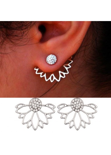 Mother's Day Gifts Elegant Lotus Shape Rhinestone Earrings for Lady - One Size