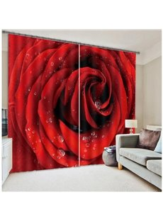 3D Blooming Dewy Red Rose Printed Romantic Style Custom Shading Curtain for Living Room