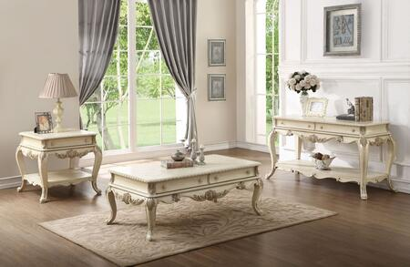 Ragenardus Collection 86020SET 3 PC Living Room Set with Coffee Table + End Table + Sofa Table in Antique White
