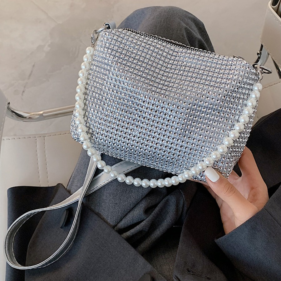 LW lovely Trendy Hot Drilling Decorative Silver Crossbody Bag