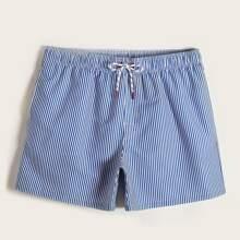 Shorts de playa de hombres de rayas con cordon