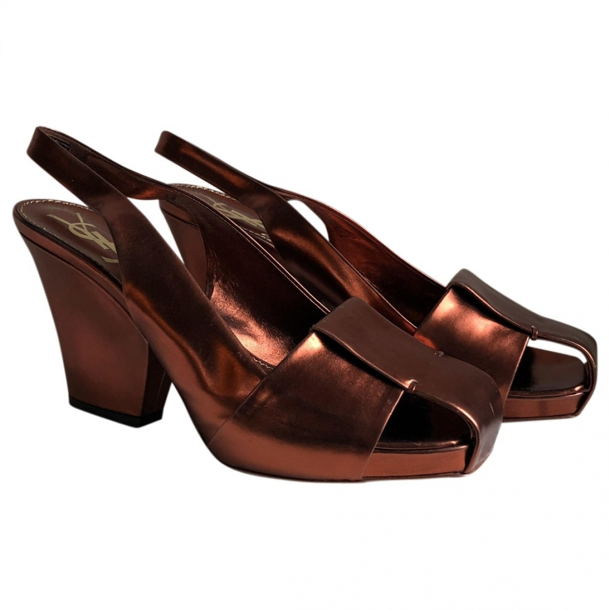 Yves Saint Laurent - Escarpins   pour femme en cuir verni - metallise