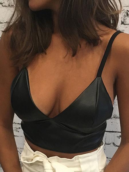 Yoins Black V-neck  Sexy Cami