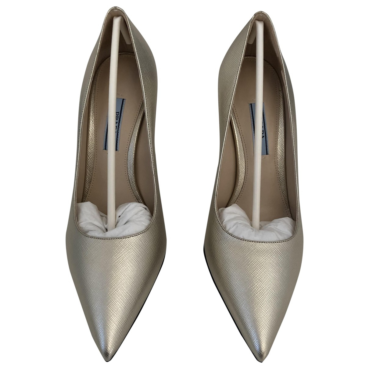Prada \N Gold Leather Heels for Women 37 IT