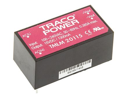 TRACOPOWER , 20W Embedded Switch Mode Power Supply SMPS, 15V dc, Encapsulated