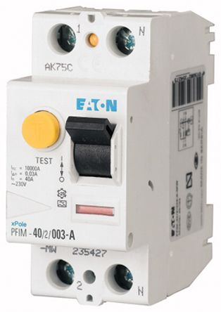 Eaton 1 + N 40 A RCD Switch, Trip Sensitivity 100mA
