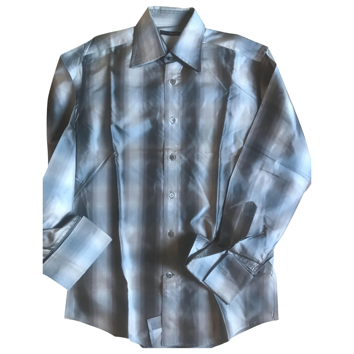 Gucci \N Silver Silk Shirts for Men 37 EU (tour de cou / collar)