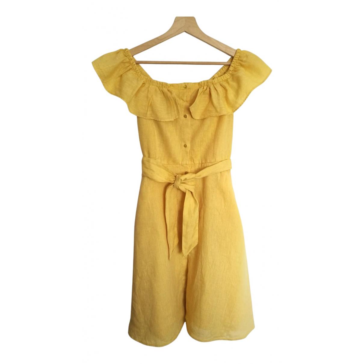 Zara N Yellow Linen dress for Women 36 FR